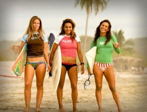 Costa Rican surfer girls with Del Mar Surf Camp