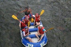 Family rafting on Pejibaye River