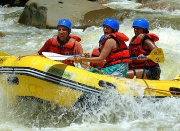 Rafting in the Costa Rica rainforest at Arenal Volcano
