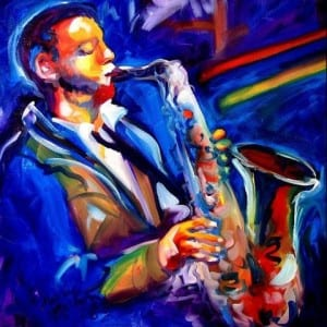 Jazz musician playing sax
