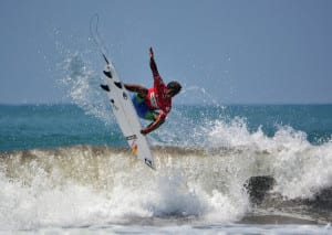 Carlos Munoz surfing in Dominical