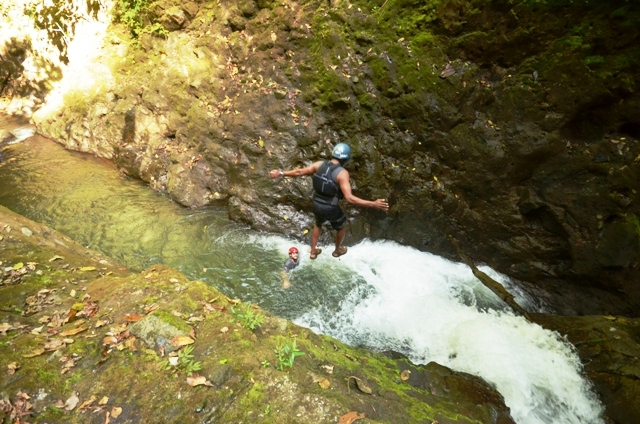 Waterfall jumping Gravity Falls Arenal Costa Rica