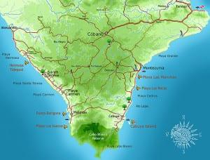 Map Southern Nicoya Peninsula Costa Rica