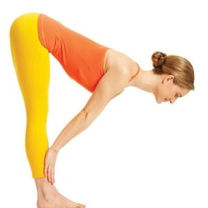 Yoga pose standing half-forward bend, image by Yoga Journal