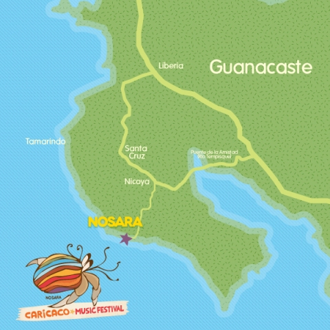 Caricaco Music Festival map of Nosara Guanacaste