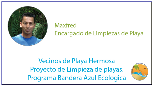 Beach cleanup employee Maxfred Moraga at Playa Hermosa Costa Rica