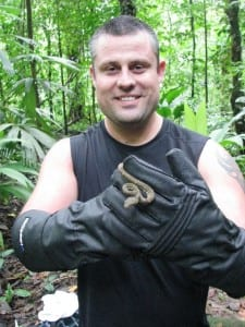 Gary handling an eyelash viper at Portasol