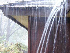 Rain gutters on house