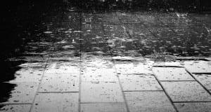Rain on tile floor