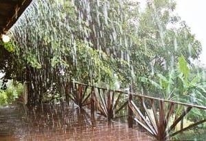 Rainy house porch in tropics
