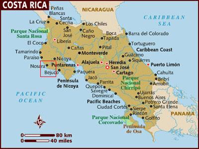 Nosara On Map Of Costa Rica