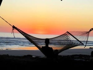 Sunset relaxing at Santa Teresa Beach Costa Rica