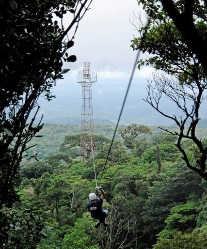Zip lining tour in the Cloud Rainforest at Monteverde