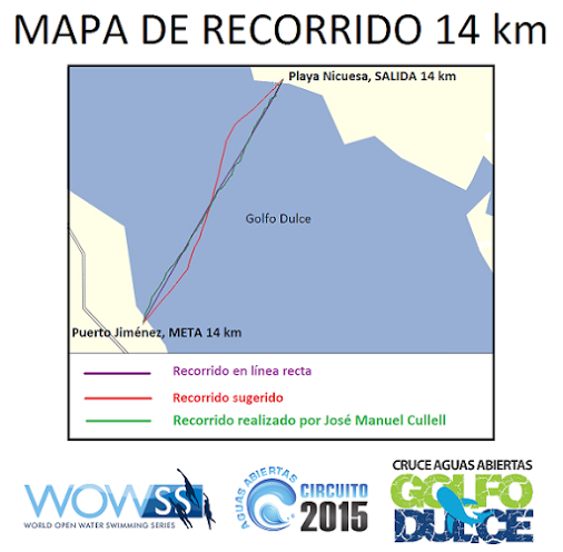 Open Water Swim Golfo Dulce 2015 swim route map
