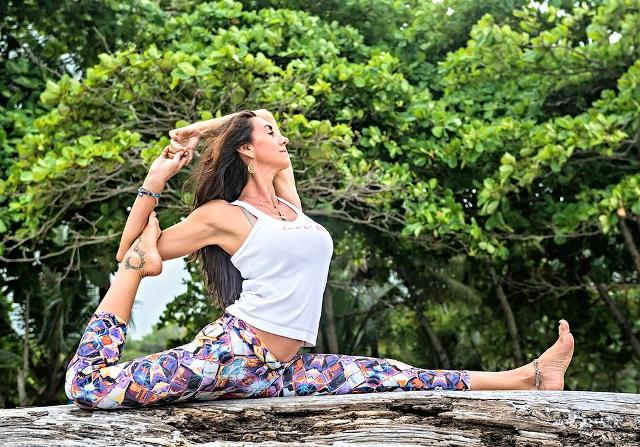 Yoga instructor Nancy Goodfellow at Pranamar Ocenfront Villas in Costa Rica