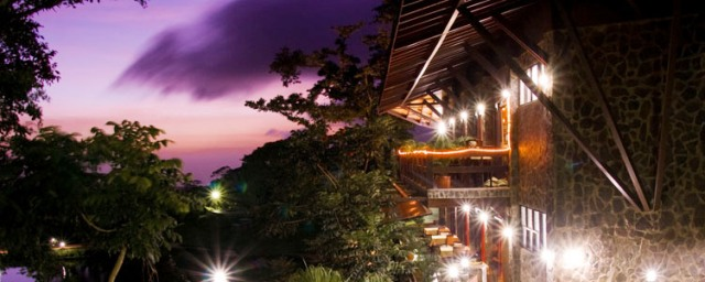 Sunset at El Establo restaurant Laggus in Monteverde Costa Rica