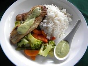Hacienda Guachipelin restaurant grilled tilapia in avocado sauce