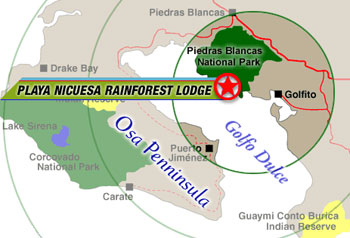 Map location of Playa Nicuesa Rainforest Lodge