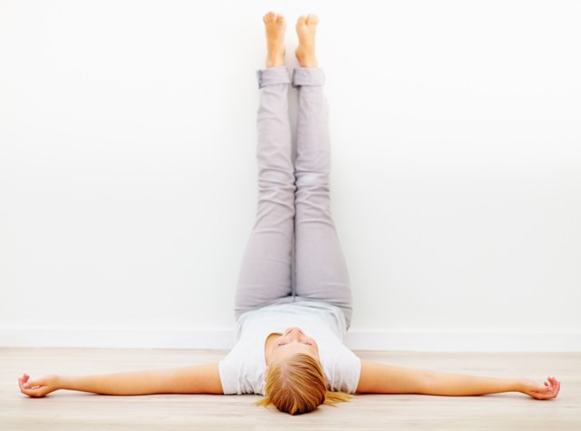 Yoga pose legs up the wall