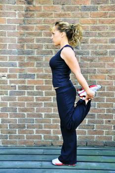 Yoga pose quad stretch