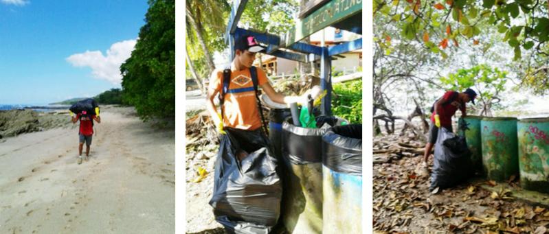 Beach cleanup community program in Santa Teresa Costa Rica