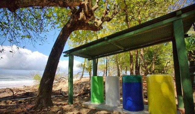 Beach garbage and recycling bins at Playa Carmen, Santa Teresa, Costa Rica