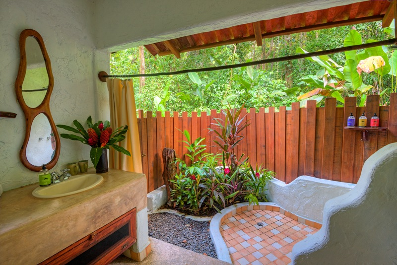 Open-air bathroom at Playa Nicuesa Rainforest Lodge in Costa Rica