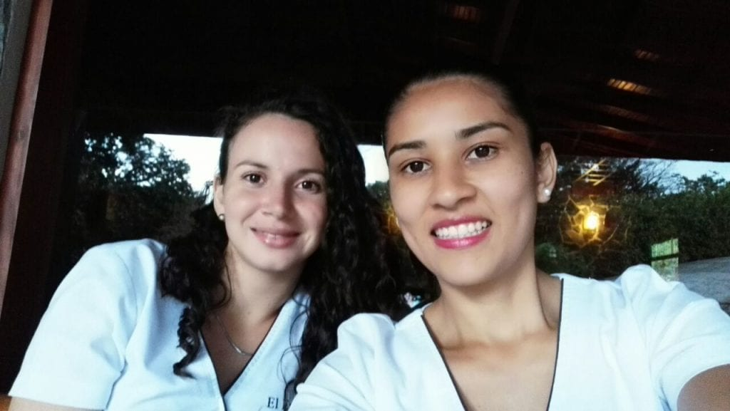Karina Bravo and Verónica Picado, therapists at Green Leaf Spa, El Establo Mountain Hotel