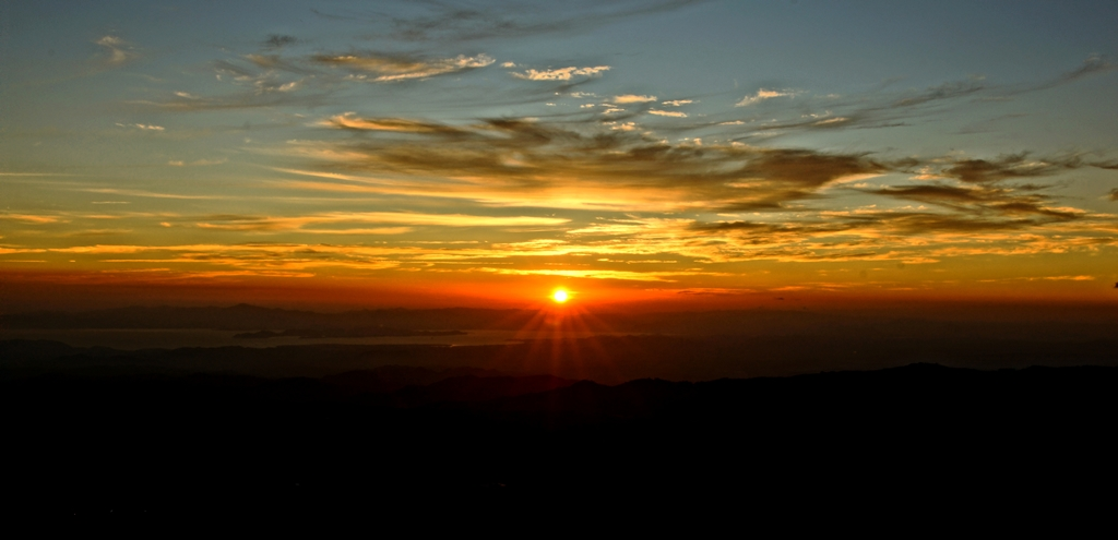 Spectacular sunset view of the Gulf of Nicoya from El Establo Mountain Hotel, Monteverde, Costa Rica.