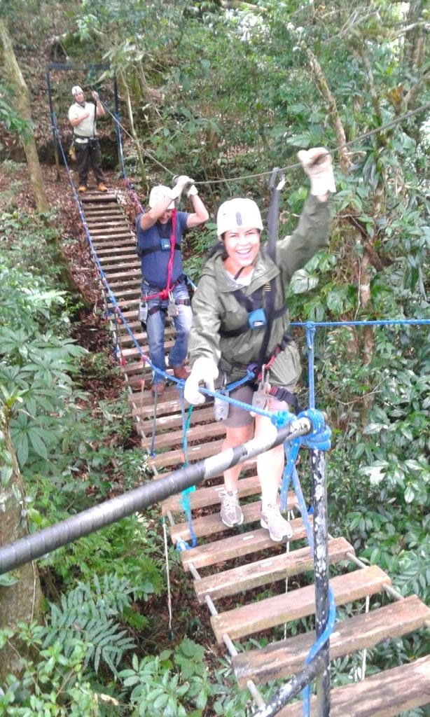 One of the hanging bridges at Tree Top Canopy Tour, El Establo Mountain Hotel