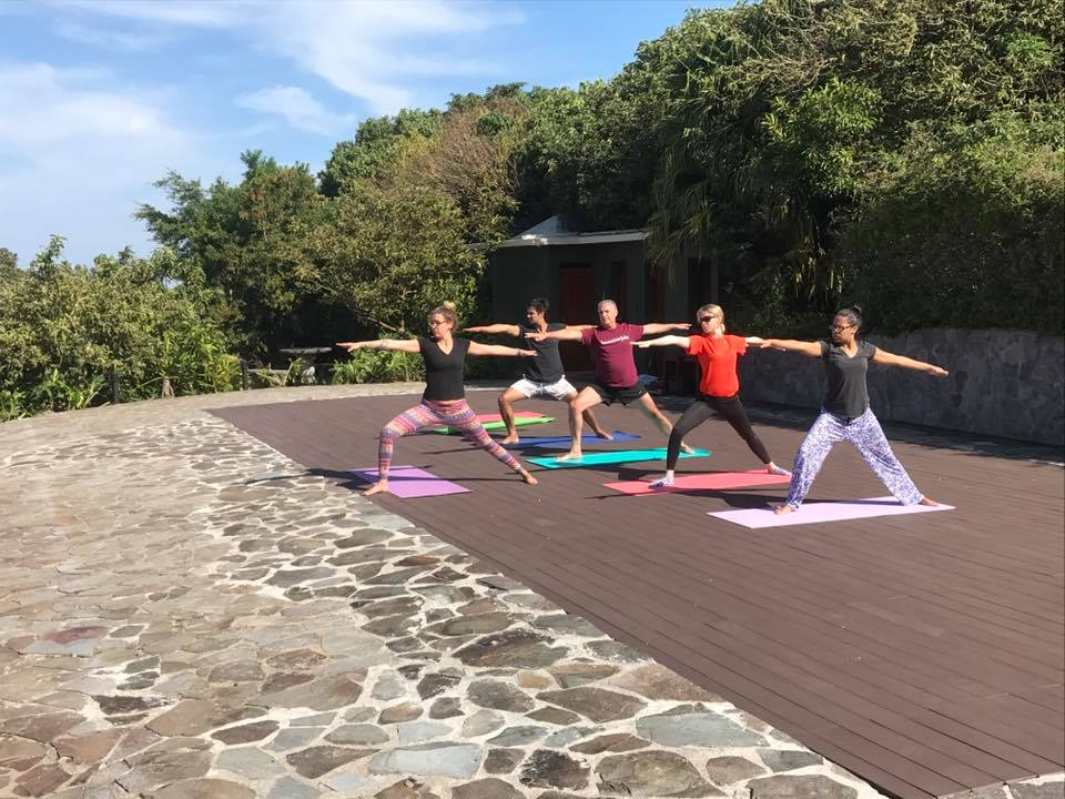 Class enjoys new yoga deck at El Establo Mountain Resort.