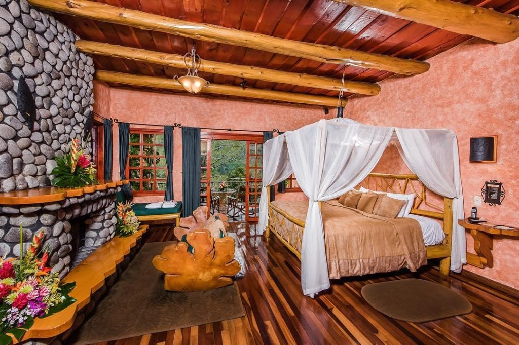 Guestroom at Peace Lodge. Photo credit #peacelodgeandwaterfallgardens.